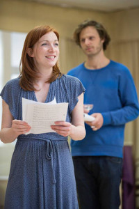 Rehearsal photo of Kirsty Besterman and Rupert, courtesy of Nuffield Theatre. Photo by Mark Douet.