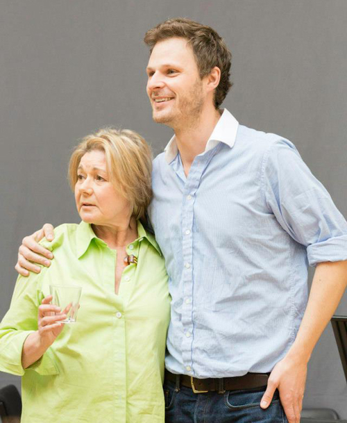 Rupert with Barbara Flynn, in a rehearsal photo by Johan Persson.